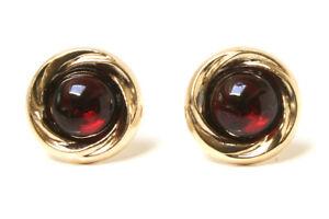 9ct-Gold-Garnet-earrings-10mm-Studs-Gift-Boxed-Made-in-UK-Christmas-Gift