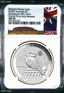 2020-30th-Ann-Kookaburra-1oz-Silver-Coin-ORCHID-Privy-NGC-MS70-ANDA-ER-Aus-LB
