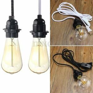 2 5m cord e27 e26 edison pendant light bulb socket wall us plug adapter switch ebay. Black Bedroom Furniture Sets. Home Design Ideas