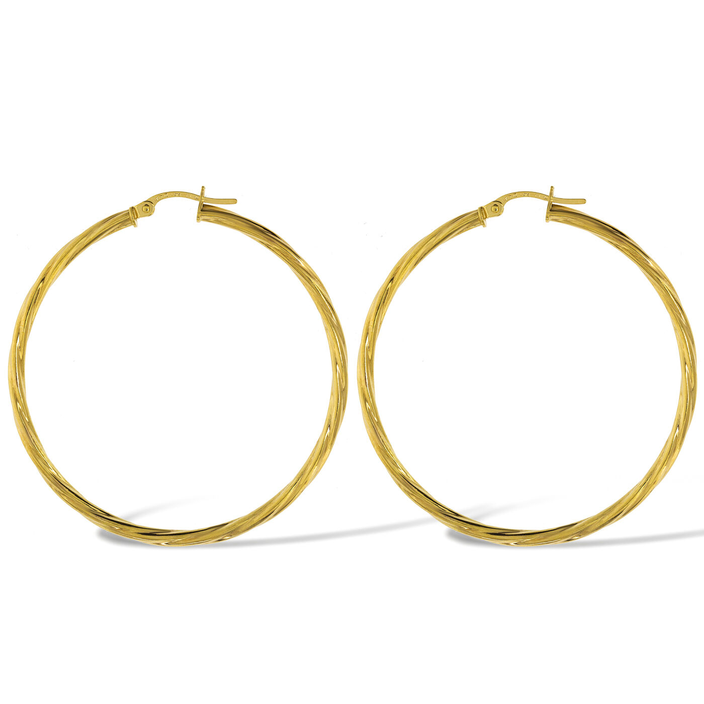 c20a422fd0809 TWISTED CABLE 45X2MM ROUND gold 375 TUBE 9CT BOX EARRINGS SLEEPER ...