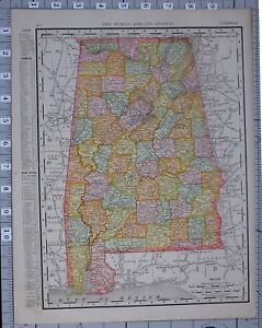 Details about 1906 MAP UNITED STATES ALABAMA COUNTIES & CITIES BIRMINGHAM  MORGAN WILCOX