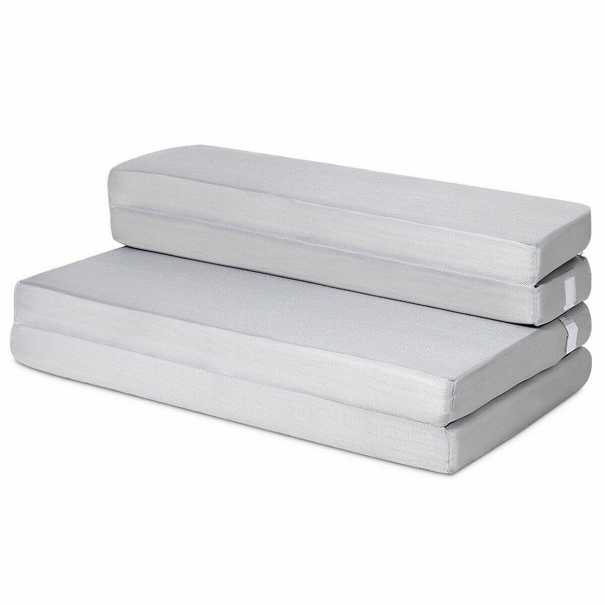 4 Full Xl Size Foam Folding Mattress Sofa Bed Guests Floor Mat