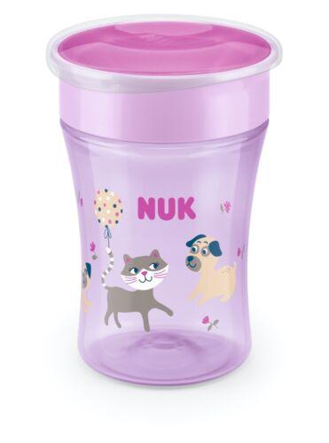 lila NUK Magic Cup 230ml mit Trinkrand Trinklernbecher Katze /& Hund  8m