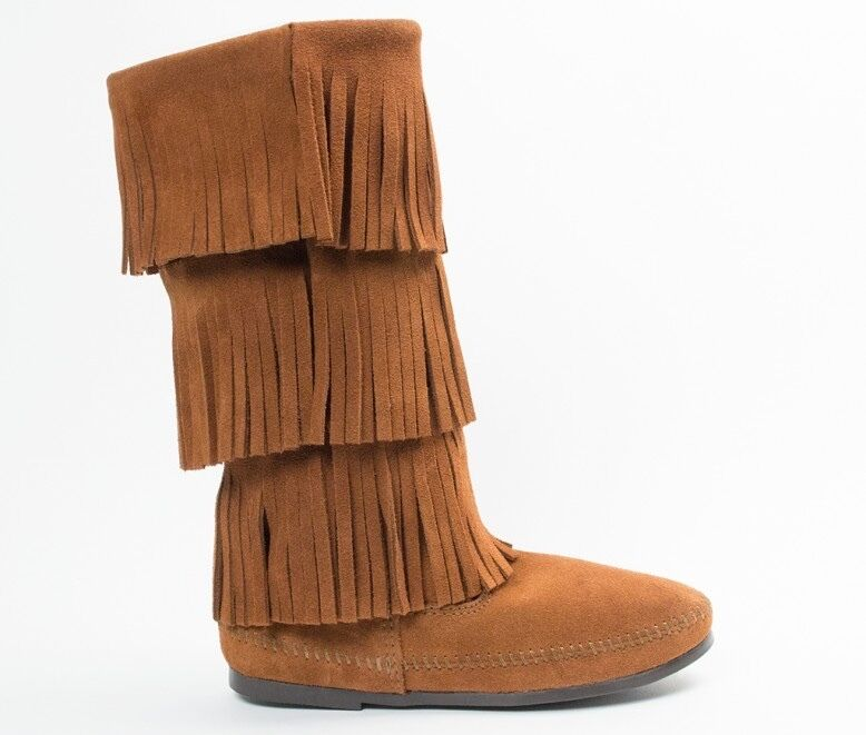 Minnetonka Moccasins 1632 - Women's 3 Layer Fringe Calf High Boot - Chestnut Sue