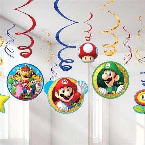 Super Mario Bros Suspendu Décorations Swirl /& Gâteau Bougies Fête D/'Anniversaire