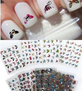 24-Feuilles-3D-Ongles-Stickers-Autocollant-Papillon-Fleur-Decal-Gel-UV-Nail-Art