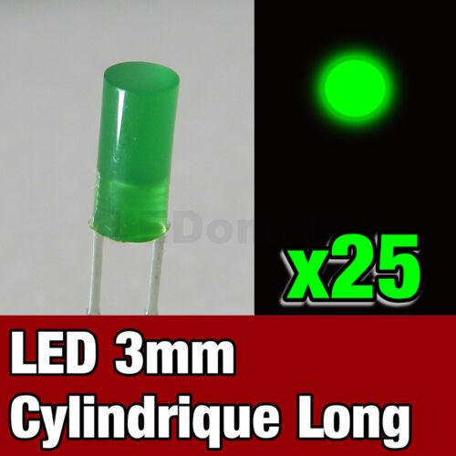 272//25# LED diffusant 3mm vert cylindrique 25pcs />300 mcd Flat Top green