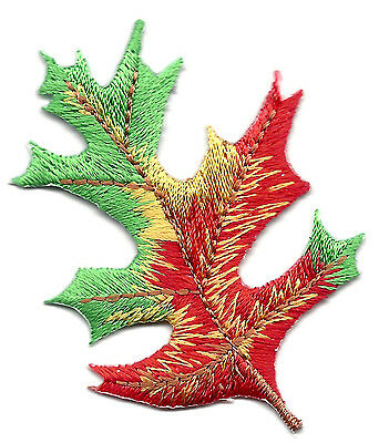 Lot 2 Green Leaf embroidery Fall Autumn Leaves
