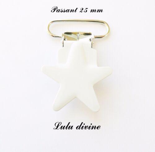 Attache tétine doudou Clip étoile Pince étoile passant de 25 mm : Blanc