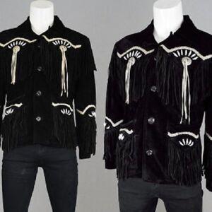 Hommes Ancien Cow-boy Noir Suède Cuir Manteau Américain Franges Et Des Os Veste