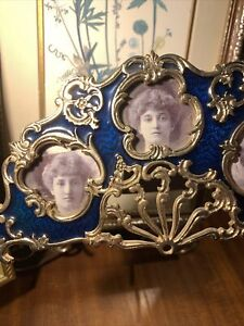 Vintage Ornate Brass Free Standing Picture Frame For 3 Tiny Pictures~Victorian