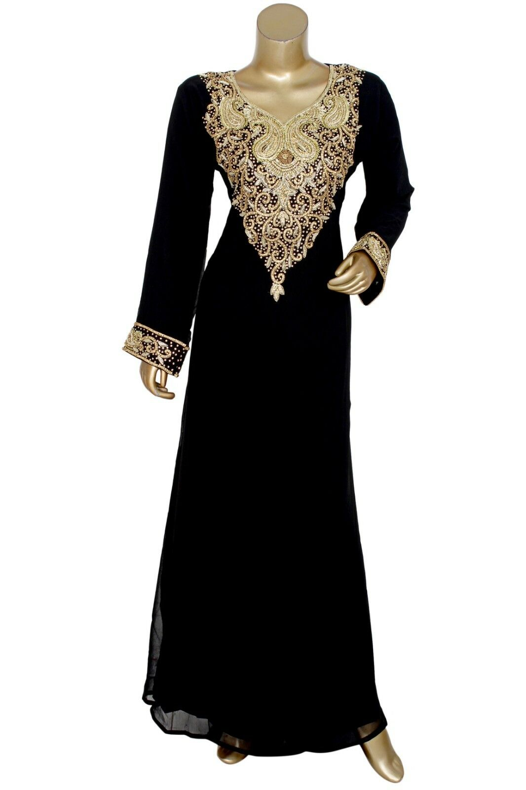 New Exclusive Crystal Embellished Kaftan Gown Tunic Arabian Caftan Jalabiya Maxi