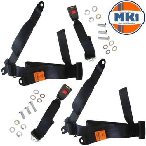 Mk1 Classic Car Parts 65 Front 3 Point Non-Inertia Rear Seat Belt Kit Pair