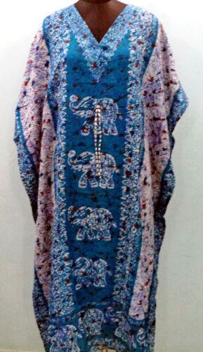 Elephant Print Ravishing Kaftan Free Size V-Neck Kimono Long Boho Maxi Caftan