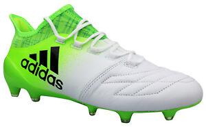 Details zu Adidas X 16.1 FG Fußballschuhe Leder Nocken weiß grün BB5843 Gr. 39 48 NEU OVP