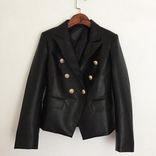 Work Black Breasted Lapel Collar Jacket Slim Blazer Coats Kvinder Double Leather v1xnwgq