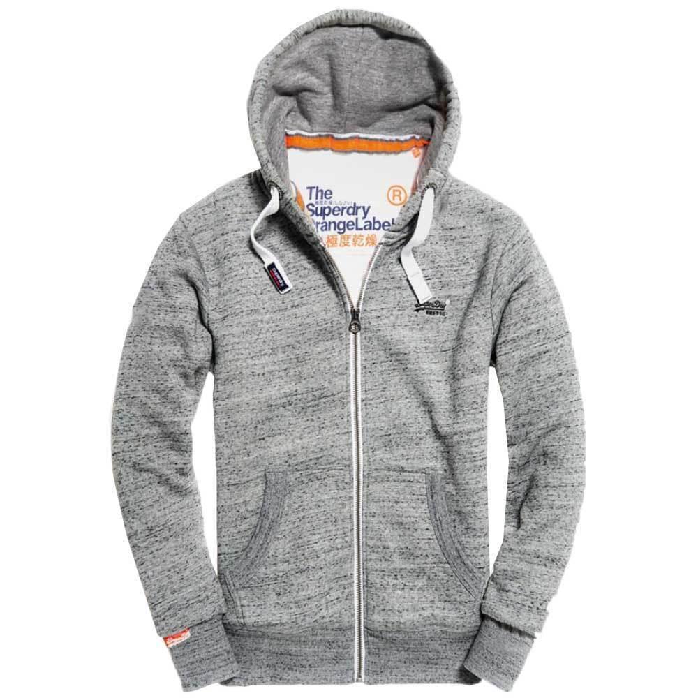 Top Superdry arancia Label da uomo con cerniera cerniera cerniera e cappuccio Flint Grigio Sabbia Nero Spedizione in tutto il mondo 6d4646