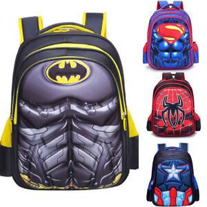 Image is loading 3D-Kids-School-Bag-Spiderman-Backpack-Captain-America-