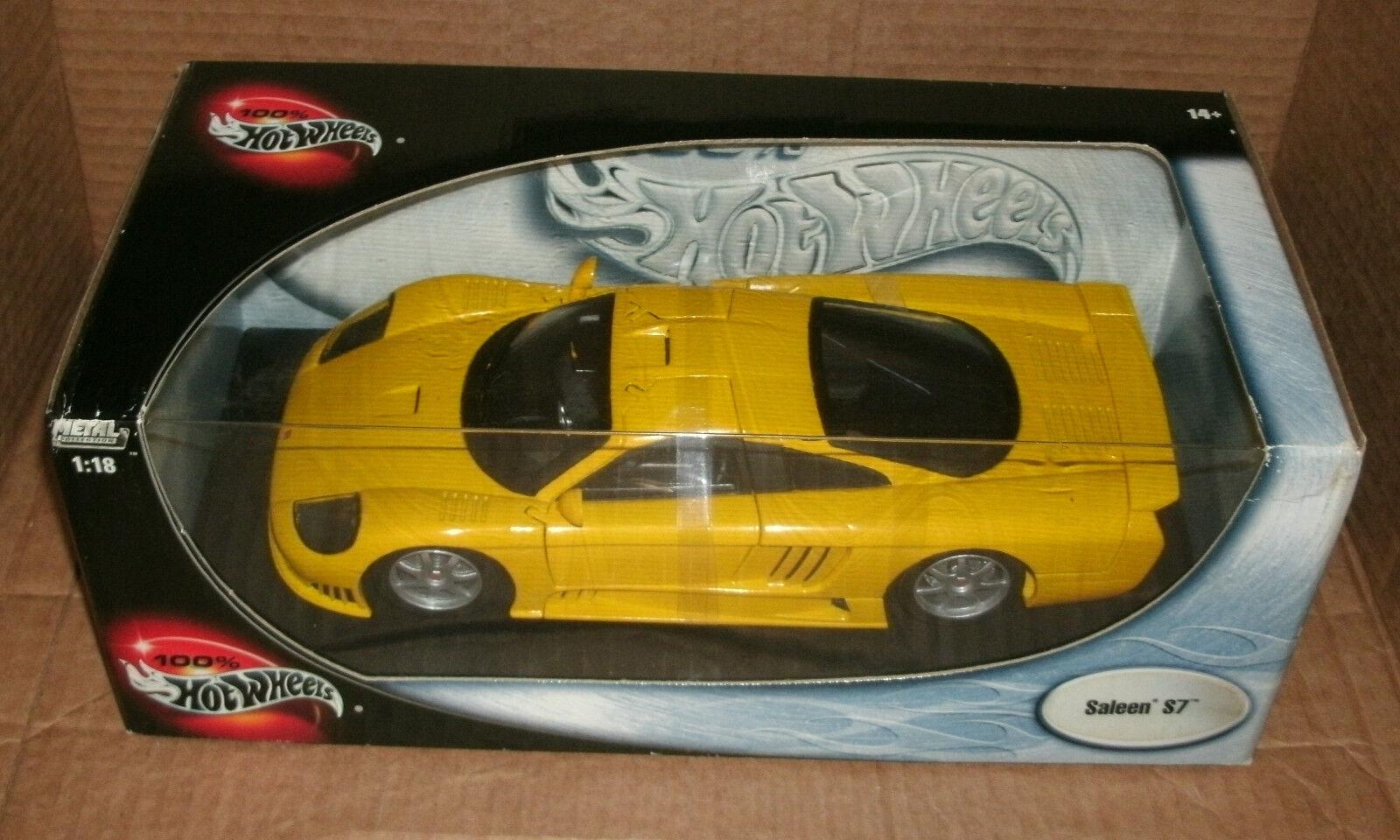 1 18 Scale Scale Scale Saleen S7 Diecast Model Supercar Replica - Hot Wheels 57302 Yellow 129e63