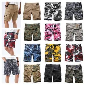 Mens-Casual-Street-Cargo-Shorts-Army-Military-BDU-Camo-Shorts-Work-Shorts