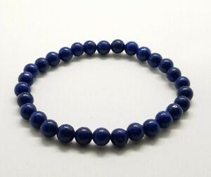 Lapis Lazuli Bracelet Round Beads Gemstone 6mm Crystal Healing Stone Quartz Yoga