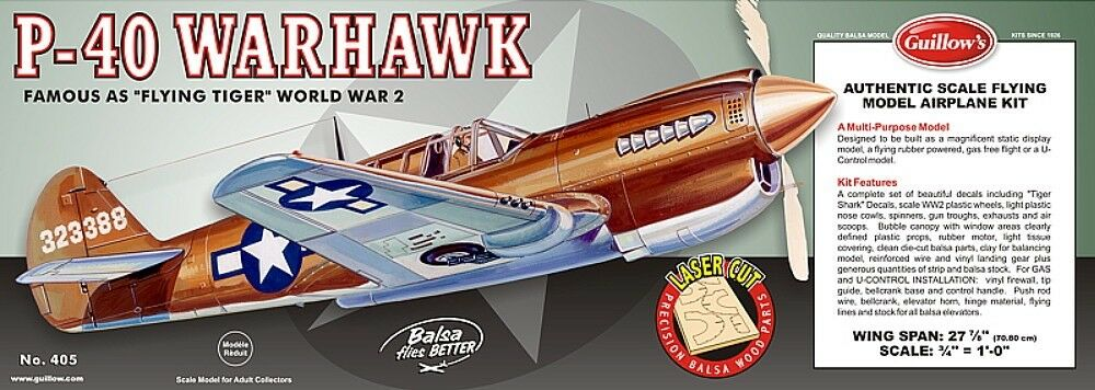 Guillows 1 16 scale P-40 Warhawk balsa flying model LC