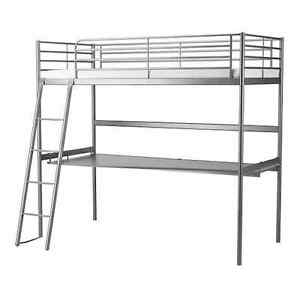 Lit Ikea Svarta Structure Lit Mezzanine Plateau Couleur Argent Ebay