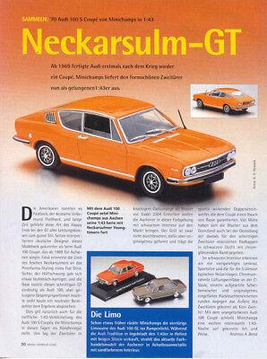 ' 70 Audi 100 S Coupe In 1-43 Di Minichamps... Un Modello Relazione #2001-.ein Modellbericht #2001 It-it Mostra Il Titolo Originale Per Vincere Una Grande Ammirazione