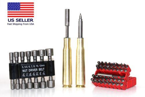 BULLETOOLZ  Bullet Nut Driver Screwdriver Set Real 50 BMG Military Brass