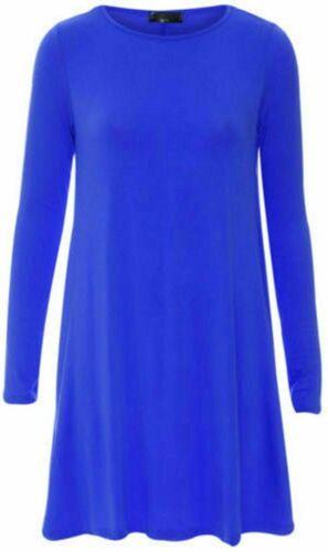 Ladies Long Sleeve Plain Swing//Skater Dress UK 8-24