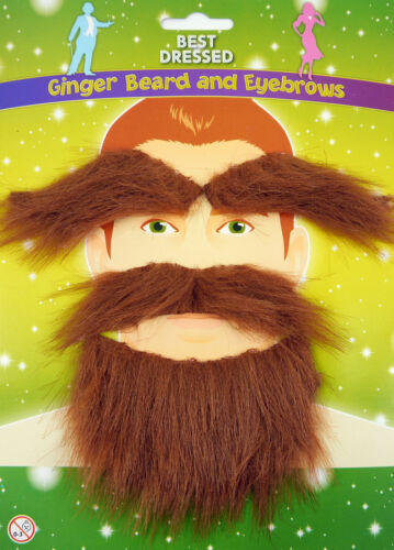 SCOTTISH SCOTSMAN GINGER BEARD TASH MOUSTACHE EYEBROWS FANCY DRESS ACCESSORY