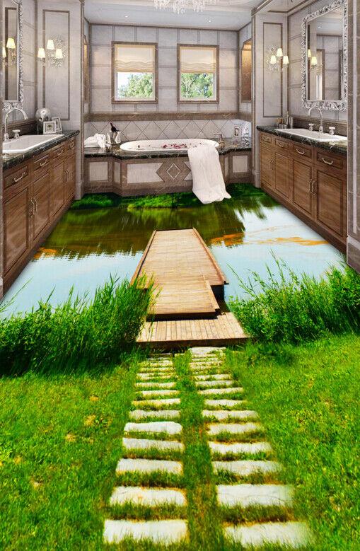 3D Grnes Gras Fluss 55 Fototapeten Wandbild Fototapete Tapete Familie DE Lemon