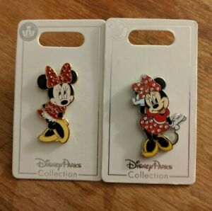 Disney-Parks-Set-of-2-Pins-Minnie-Mouse-Gem-Jewel-Shy-Holding-Bow-2019-June-Red