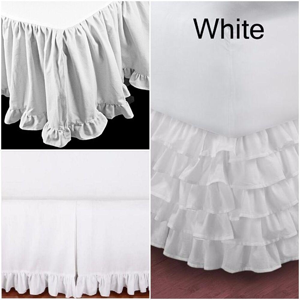 WHITE COTTON SPLIT CORNER BED SKIRT TAILORED, RUFFLED, MULTI RUFFLE ALL SIZES