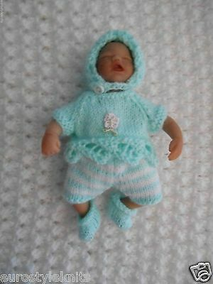 """Doll Clothes Hand Knitted Vintage Style Suit for 5"""" antique bisque - clay baby"""