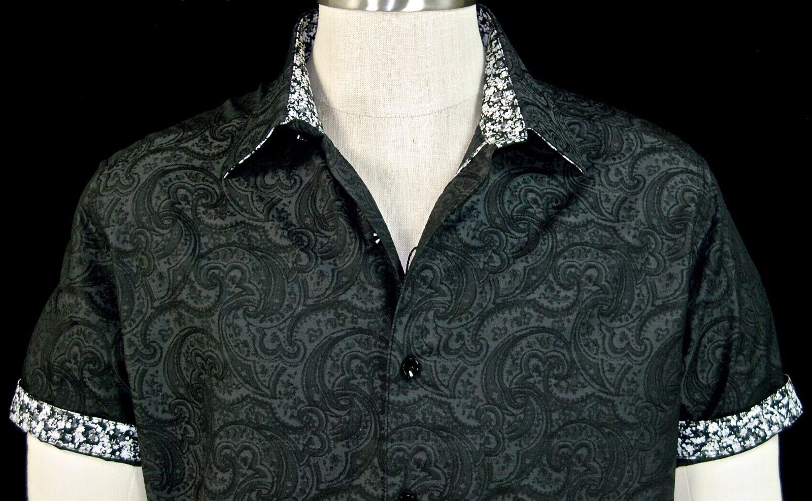 Robert Graham Black NWT Paisley Jacquard Short Sleeve Floral Cuffs XL