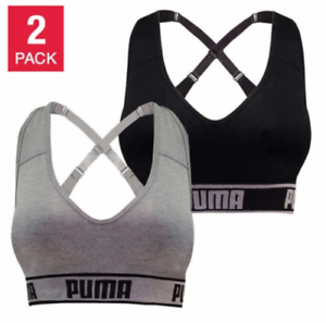 New-Women-039-s-Puma-Medium-Impact-Seamless-Sports-Bra-2-Pack-VARIETY-Size-amp-Color