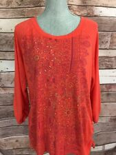 Style & Co Red / Orange Embellished Tunic Top XL Womens