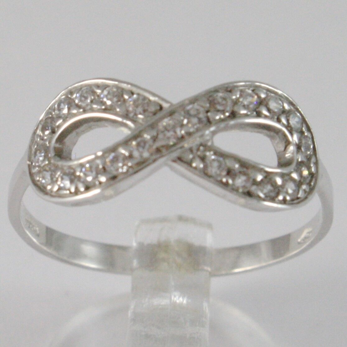 BAGUE EN OR white 750 18K, SYMBOLE INFINI AVEC ZIRCON, MADE IN ITALY