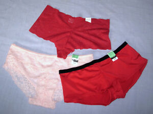 lot-3-sz-M-Panties-JACLYN-SMITH-women-039-s-red-Boyshorts-pink-Hipsters-lace-Med