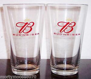 2-BUDWEISER-PINT-BEER-GLASSES-ANHEUSER-BUSCH-BRAND-NEW-MINT-CONDITION