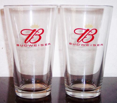 2 BUDWEISER PINT BEER GLASSES ANHEUSER-BUSCH BRAND NEW MINT CONDITION