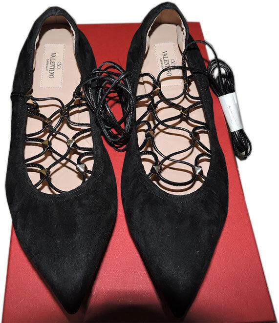 il più recente Valentino Valentino Valentino Rockstud Allacciate Ballerina Balletto Scarpa Piatta Nero Punta a 37.5  negozio online