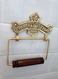 Vintage-Toilet-Roll-Holder-Shabby-Chic-Gold-Brass-Unusual-Antique-St-Pancras-Old