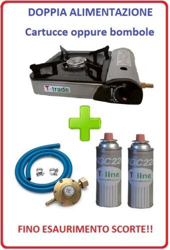 Portable Stove with Dual Power 2 Cartridges Gas Regulator Kit