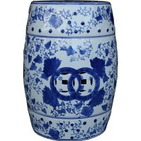 Chinese Inspired Blue And White Porcelain Drum Stool / Side Table (ds-uw)