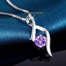 SALE Black Friday - Silver Purple Crystal Necklace Gift For Her Girlfriend Women