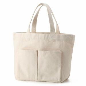 4ca9dbe45 MUJI Organic cotton My Tote Bag Ecru Outside & Inside Pocket Canvas ...