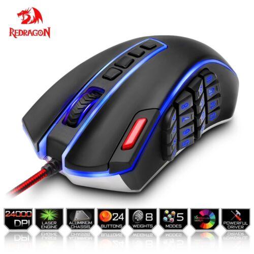 RedDragon® USB Gaming Mouse 24000 DPI 24 Buttons Ergonomic Design For Desktop