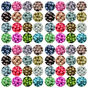 Round-Glass-PEARL-Beads-400-x-4mm-200-x-6mm-100-x-8mm-50-x-10mm-Many-Colours-ML